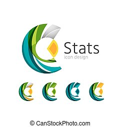 Statistics company logo set. Vector illustration