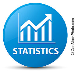 Statistics cyan blue round button