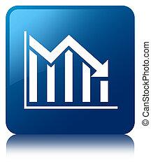 Statistics down icon blue square button