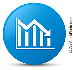 Statistics down icon cyan blue round button
