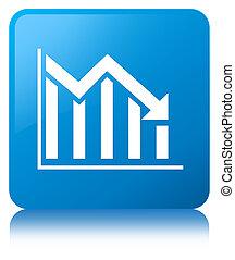 Statistics down icon cyan blue square button
