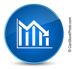 Statistics down icon elegant blue round button