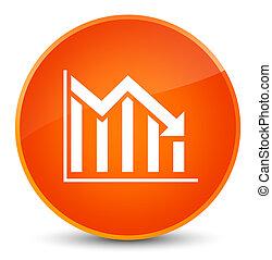 Statistics down icon elegant orange round button