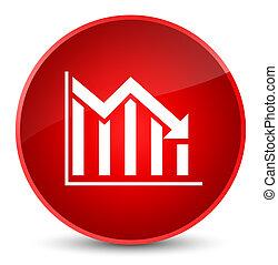 Statistics down icon elegant red round button