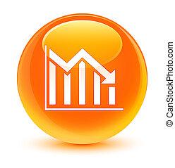 Statistics down icon glassy orange round button