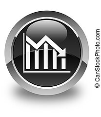 Statistics down icon glossy black round button