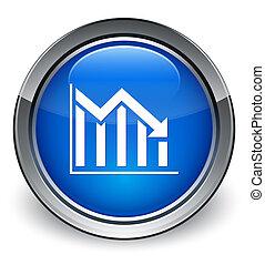 Statistics down icon glossy blue button