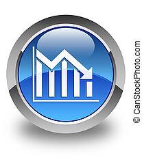 Statistics down icon glossy blue round button