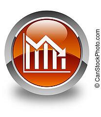 Statistics down icon glossy brown round button