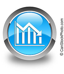 Statistics down icon glossy cyan blue round button