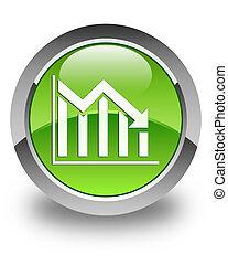 Statistics down icon glossy green round button