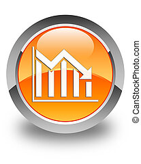 Statistics down icon glossy orange round button