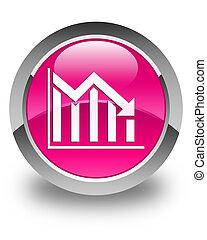 Statistics down icon glossy pink round button