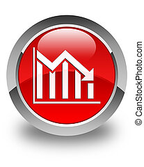 Statistics down icon glossy red round button