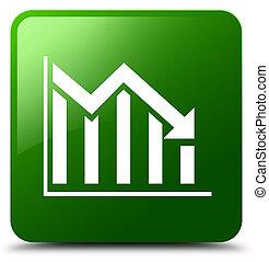 Statistics down icon green square button
