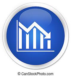 Statistics down icon premium blue round button
