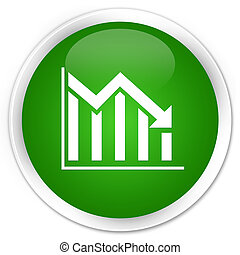 Statistics down icon premium green round button