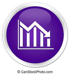 Statistics down icon premium purple round button