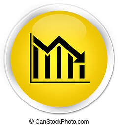 Statistics down icon premium yellow round button