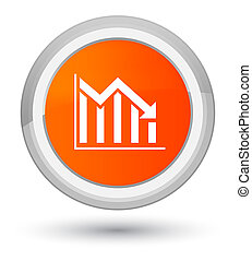 Statistics down icon prime orange round button
