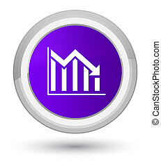 Statistics down icon prime purple round button