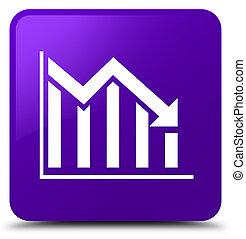 Statistics down icon purple square button