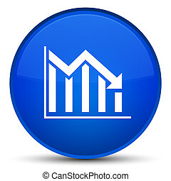 Statistics down icon special blue round button