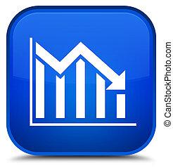 Statistics down icon special blue square button