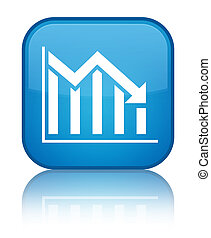 Statistics down icon special cyan blue square button