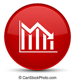 Statistics down icon special red round button