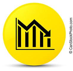 Statistics down icon yellow round button