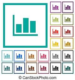 Statistics flat color icons with quadrant frames