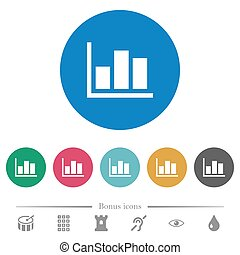 Statistics flat round icons
