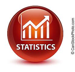 Statistics glassy brown round button