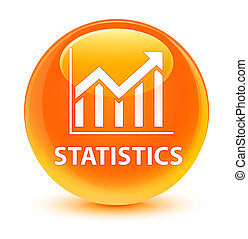 Statistics glassy orange round button