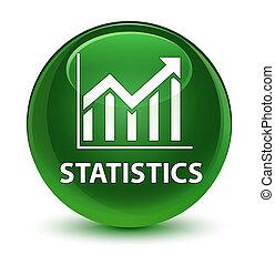Statistics glassy soft green round button