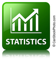Statistics glossy green reflected square button
