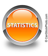 Statistics glossy orange round button