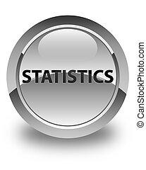 Statistics glossy white round button