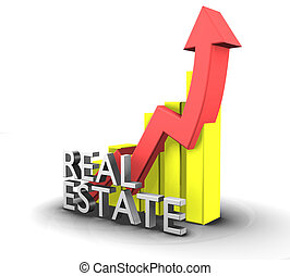 Statistics graphic with real estate word - 3d