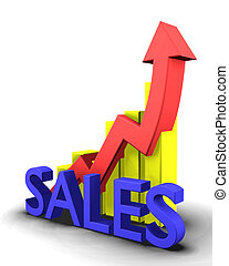 Statistics graphic with sales word - 3d made
