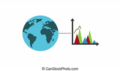 statistics graphic with world planet earth