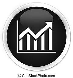 Statistics icon black glossy round button