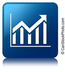 Statistics icon blue square button