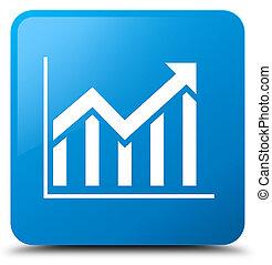 Statistics icon cyan blue square button