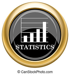 Statistics icon - Shiny glossy icon with white design on...