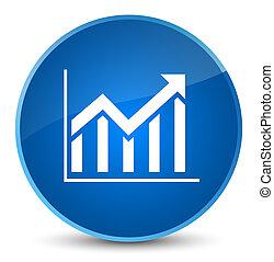 Statistics icon elegant blue round button