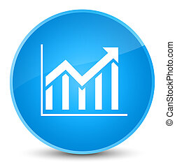 Statistics icon elegant cyan blue round button