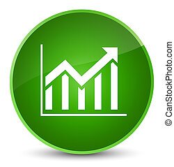 Statistics icon elegant green round button