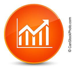 Statistics icon elegant orange round button